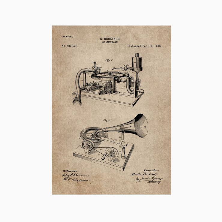 Patent Document of a Gramophone - Objects of Interest