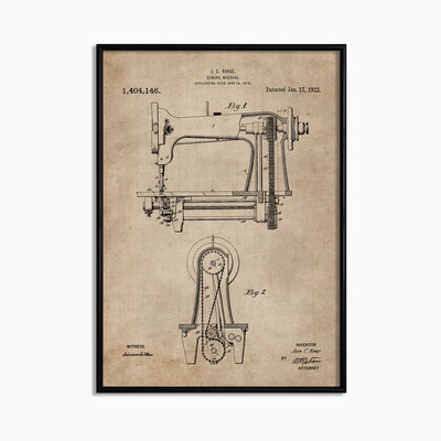 Patent Document of a Sewing Machine - Objects of Interest