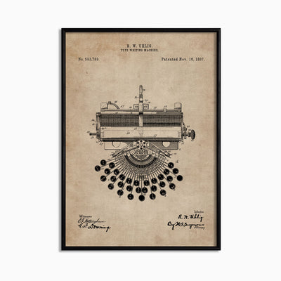 Patent Document of a Type Writing Machine - Objects of Interest