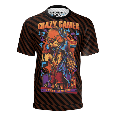 Crazy Gamer Striped T-Shirt