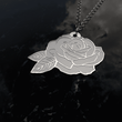 Engraved Rose Sterling Silver Necklace - Beautiful