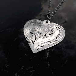 Awesome Heart Necklace with detailed engraving designed at Love and Design
