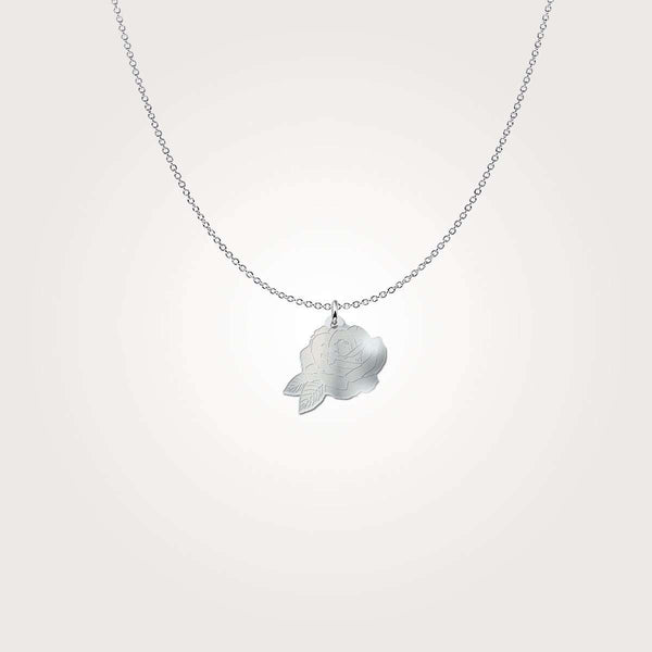 Love and Design Engraved Rose Sterling Silver Necklace - Beautiful