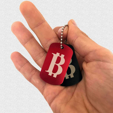 Red or Black Dog Tag BItcoin Keychain / Jewellery