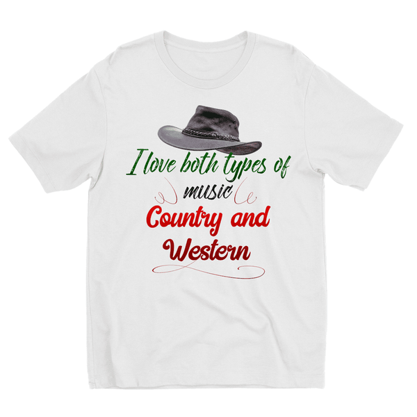 Love and Design I like both types of music, Country and Western Kids Sublimation TShirt