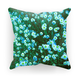 Daisy Blue Daisies in Teal Cushion