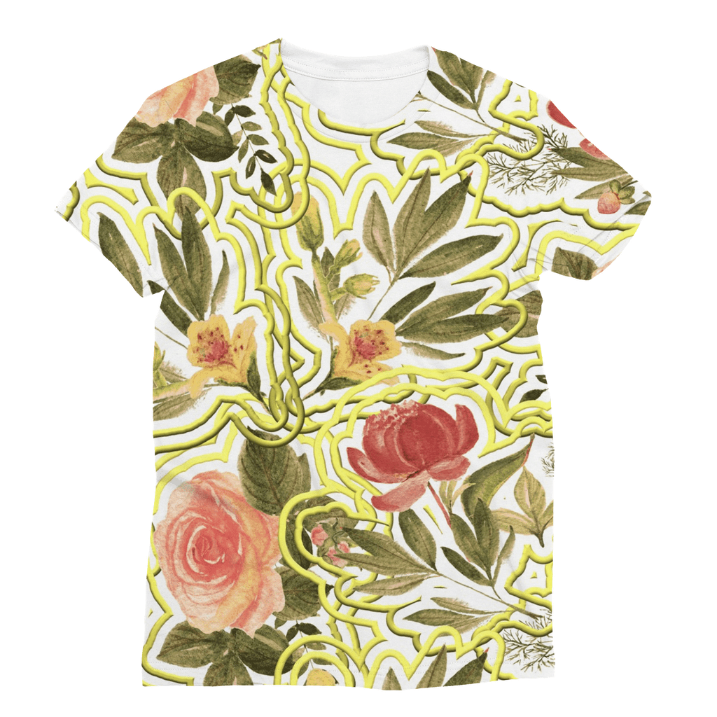 Fower with Gold Border Sublimation T-Shirt