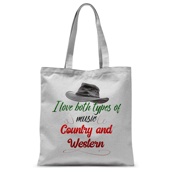 I like both types of music, Country and Western Tote Bag