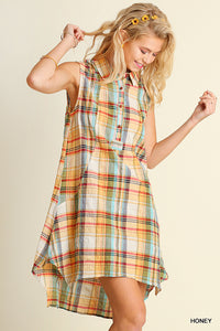 Plaid Button Up Sleeveless Dress