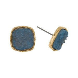 Earrings-Faux Druzy Stone