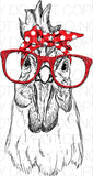 Chicken with glasses - Dye Sub Heat Transfer Sheet
