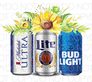 Michelob ultra coors lite bud light sunflowers - HTV Transfer