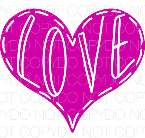 Purple Love Heart - Dye Sub Heat Transfer Sheet