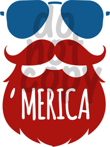 Merica Beard 1 - Dye Sub Heat Transfer Sheet
