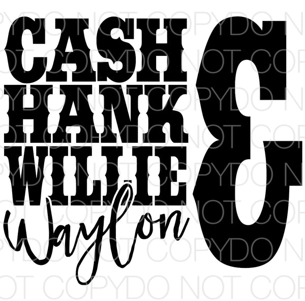 Cash Hank Willie & Waylon black - Dye Sub Heat Transfer Sheet
