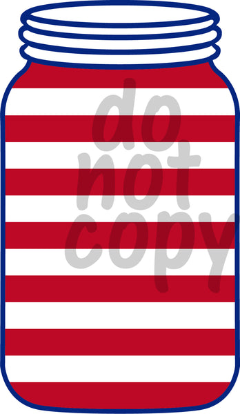 Mason Jar Stripes 6 - Dye Sub Heat Transfer Sheet