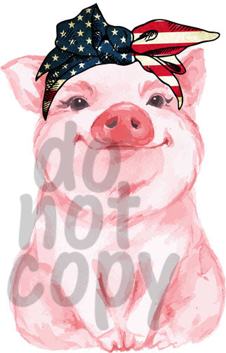 Pig with American Flag Bandana - Dye Sub Heat Transfer Sheet