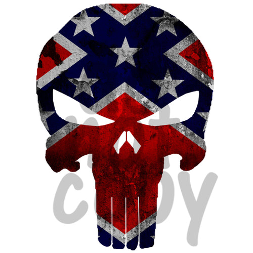 Punisher-Rebel Flag - Dye Sub Heat Transfer Sheet