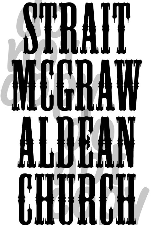 Strait McGraw Aldean Church - Dye Sub Heat Transfer Sheet
