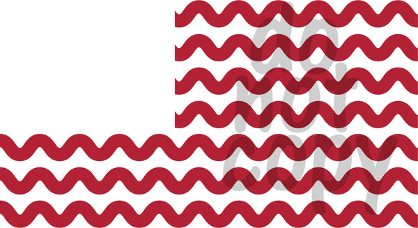 Waves American Flag Monogram - Dye Sub Heat Transfer Sheet
