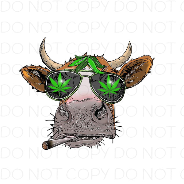 Cow Smoking With Green Leaf Sunglasses - Dye Sub Heat Transfer Sheet
