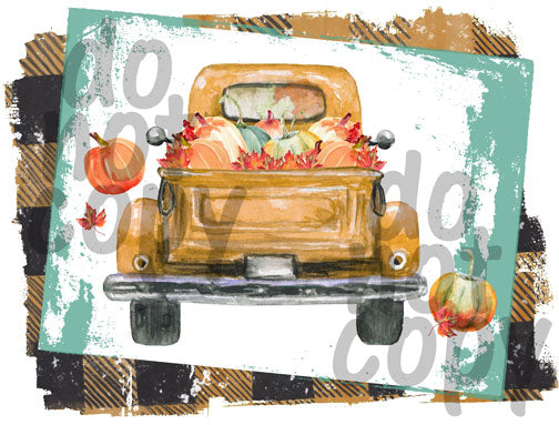 Fall Yellow Plaid Pumpkin Truck - Dye Sub Heat Transfer Sheet