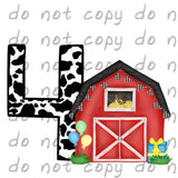 Birthday Red Barn 4 - Dye Sub Heat Transfer Sheet