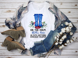 On the farm rubber boots go with everything blue dot - Dye Sub Heat Transfer Sheet