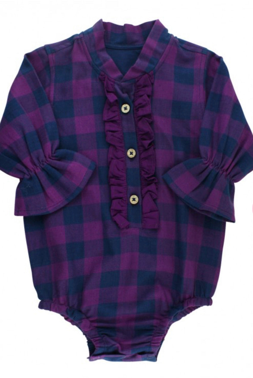 Ruffle Butts Plum and Navy Buffalo Plaid Ruffles Bodysuit