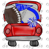Red and Blue Football Truck - Dye Sub Heat Transfer Sheet