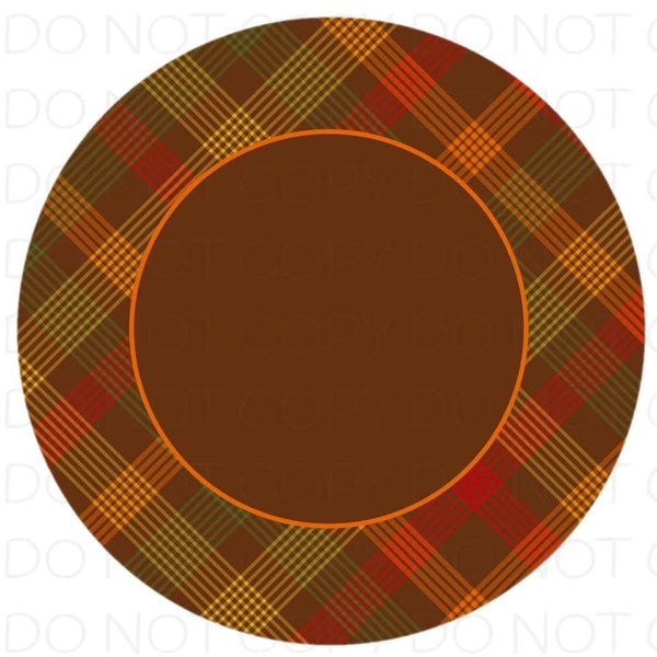 Brown Plaid border- Rubber Neoprene Car Coasters