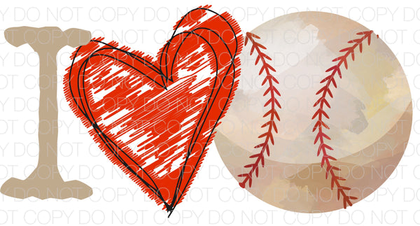 I love baseball - Dye Sub Heat Transfer Sheet