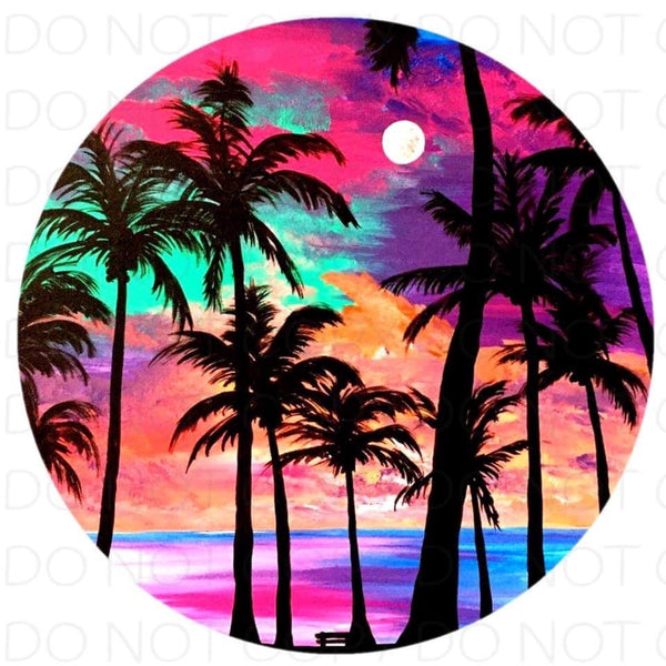 Sunset Palm trees - Rubber Neoprene Car Coasters