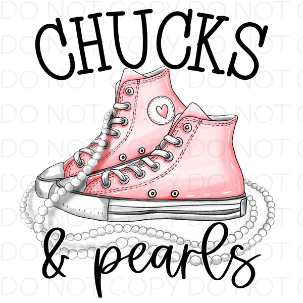 Chucks and Pearls Pink - HTV Transfer