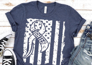 SP232- Cancer Fighter with American Flag Screenprint Transfer