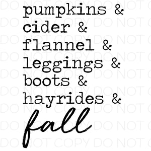 Pumpkins and cider and flannel - Dye Sub Heat Transfer Sheet