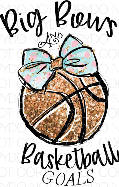 Big Bows And Basketball Goals - Dye Sub Heat Transfer Sheet