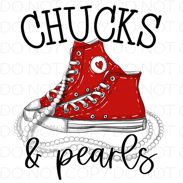 Chucks and Pearls Red - HTV Transfer