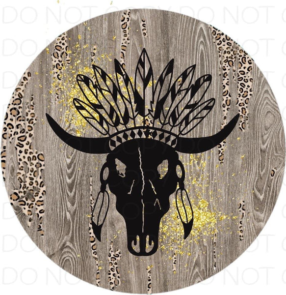 Bull skull with feathers - Rubber Neoprene Car Coasters