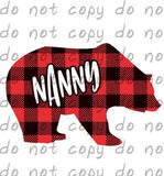 Buffalo Plaid Bear Nanny - Dye Sub Heat Transfer Sheet