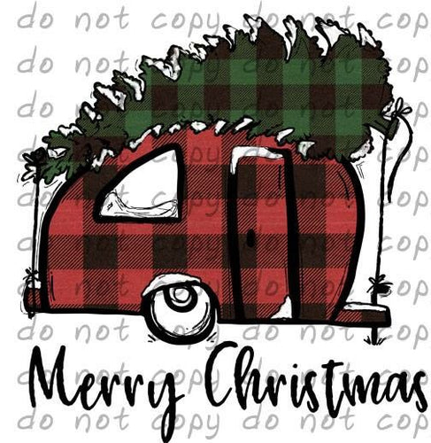 Merry Christmas Camper Buffalo Plaid - Dye Sub Heat Transfer Sheet