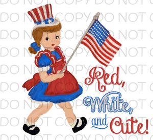 Red white and cute girl - HTV Transfer
