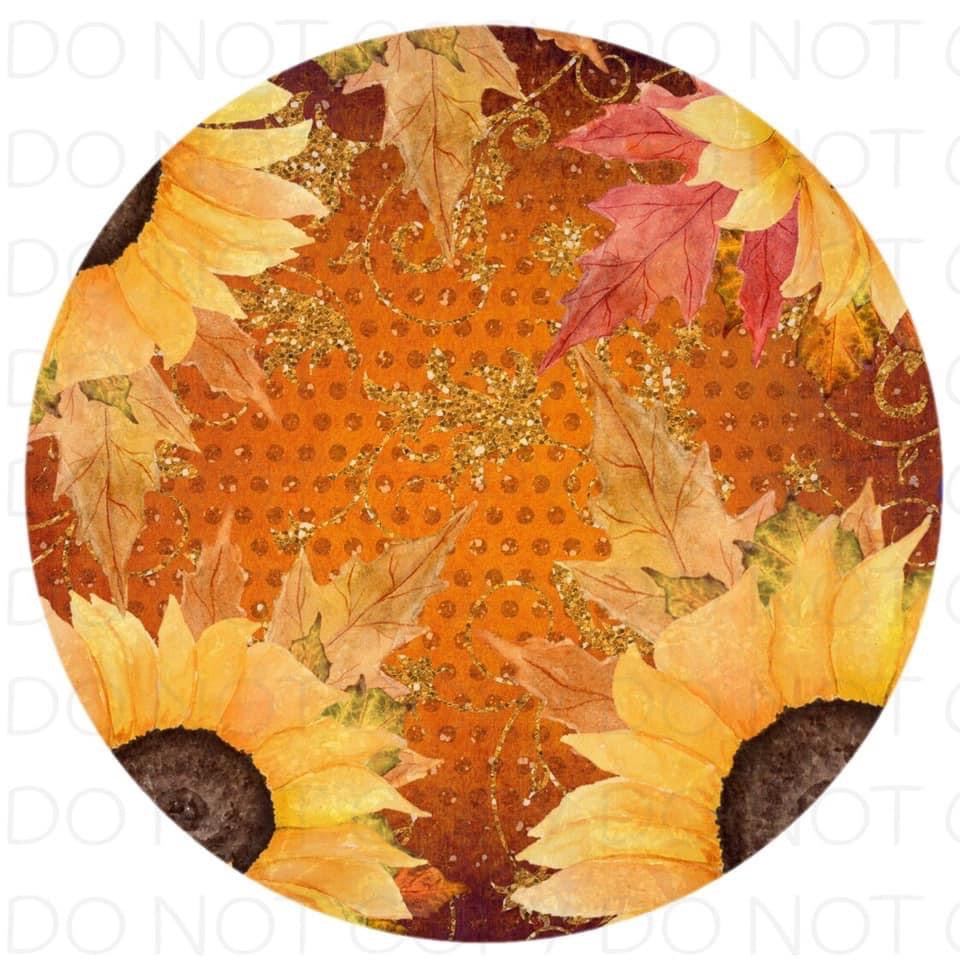Autumn Sunflower - Rubber Neoprene Car Coasters