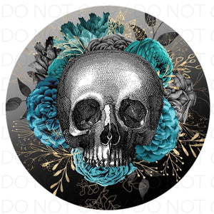 Blue roses skull - Rubber Neoprene Car Coasters