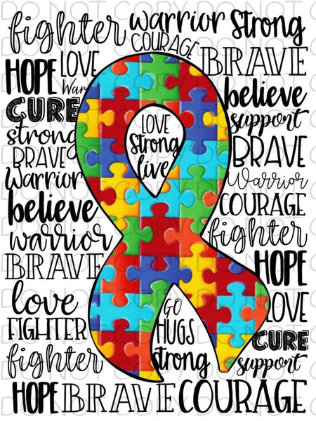 Autism Ribbon with words - Dye Sub Heat Transfer Sheet