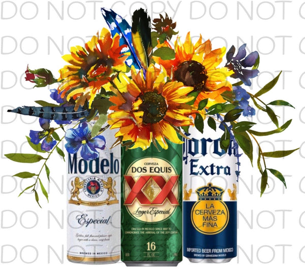 Mexican beer trio sunflowers - HTV Transfer