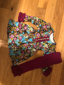 Ruffle Floral Girls Outfit