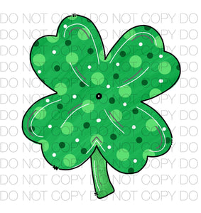 Shamrock Four Leaf Clover Green Polka Dot Dye Sub Heat Transfer