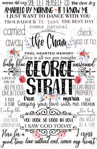 George Strait Songs - Dye Sub Heat Transfer Sheet