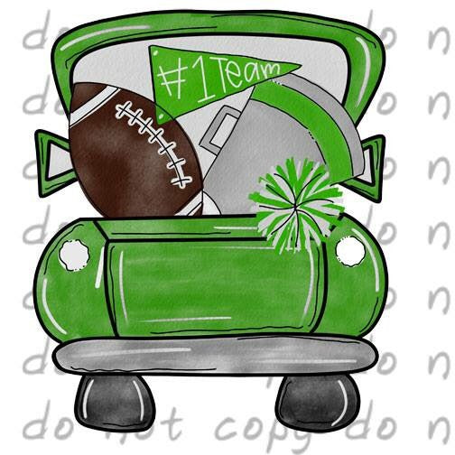 Green Football Truck - Dye Sub Heat Transfer Sheet